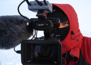 Video Journalist Tom Chown at the North Pole