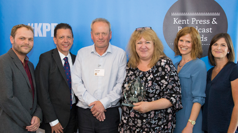 Digitom's Tom Chown with Kent Programme of the Year 2018 Joint Winners ITV News Meridian