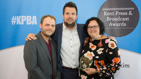 Digitom's Tom Chown with Kent Programme of the Year 2018 Joint Winners kmfm Drivetime